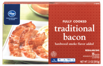 Fully Cooked Bacon, Kroger® Fully Cooked Traditional Bacon (2.1 oz Box)