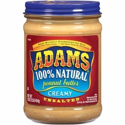 Unsalted Peanut Butter, Adams® Unsalted 100% Natural Creamy Peanut Butter (16 oz Jar)