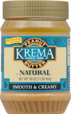 Peanut Butter, Krema® Natural Creamy Peanut Butter (16 oz Jar)