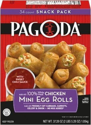 Frozen Egg Rolls, Pagoda Express® Chicken Mini Egg Rolls (37.28 oz Box)