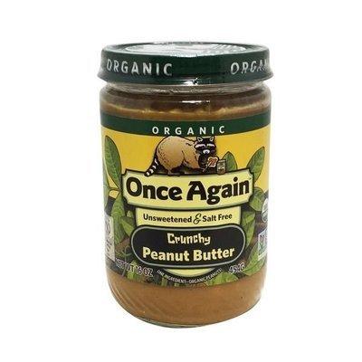 Organic Peanut Butter, Once Again® Organic Crunchy No Salt Peanut Butter (16 oz Jar)