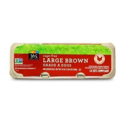 Eggs, 365® Cage Free Non-GMO Fed Large Brown Eggs (12 Egg Carton)