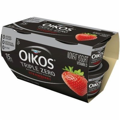 Yogurt, Dannon® Oikos® Triple Zero Strawberry Yogurt (4 Pack, 5.3 oz Cup)