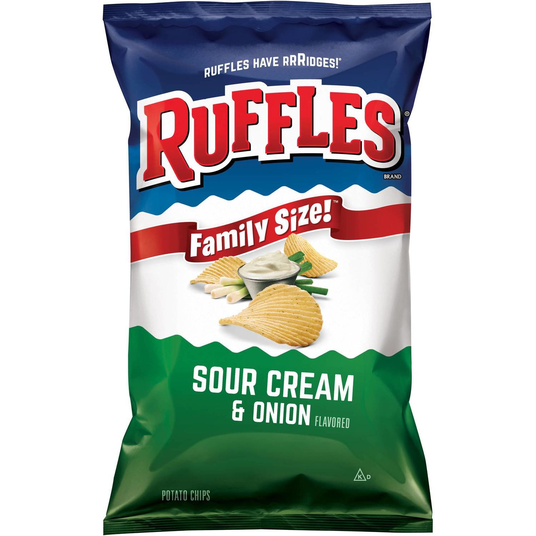 "Potato Chips, Ruffles® ""Family Size"" Sour Cream & Onion Potato Chips (8.5 oz Bag)"