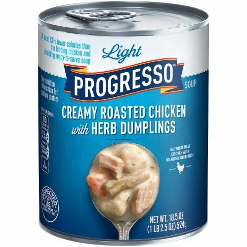 Canned Soup, Progresso® Light® Creamy Roasted Chicken with Herb Dumpling Soup (18.5 oz Can)