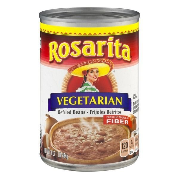 """Canned Refried Beans, Rosarita® """"Vegetarian"""" Refried Pinto Beans (16 oz Can)"""