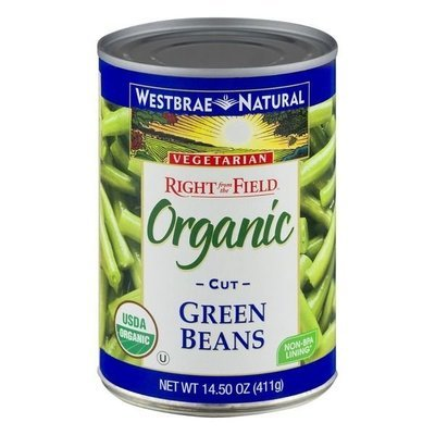 Canned Green Beans, Westbrae Natural® Organic Vegetarian Cut Green Beans (14.5 oz Can)