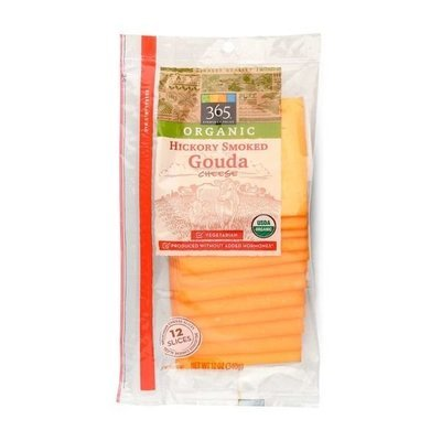 Cheese, 365® Organic Sliced Hickory Smoked Gouda Cheese (12 oz Bag)