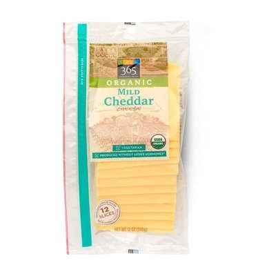Cheese, 365® Organic Sliced Mild Cheddar Cheese (12 oz Bag)