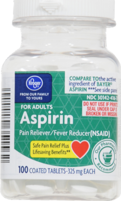 Pain Killer, Kroger® Aspirin (100 Count Bottle)