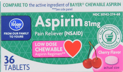 Pain Killer, Kroger® Low Dose Cherry Chew Aspirin (36 Count Box)