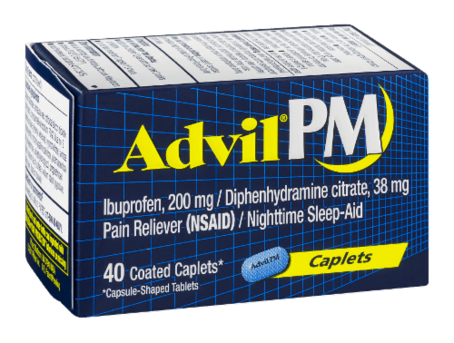 "Pain Killer, Advil® PM ""Ibuprofen and Diphenhydramine"" Caplets (40 Count Box)"