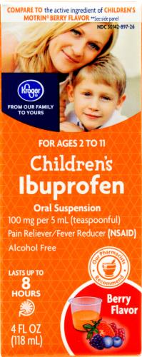 "Pain Killer, Kroger® ""Ibuprofen"" Children's Berry Flavor Liquid (4 oz Bottle in Box)"