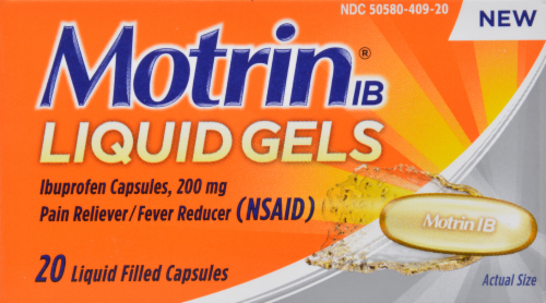 "Pain Killer, Motrin® ""Ibuprofen"" Liquid Filled Capsules (20 Count Box)"