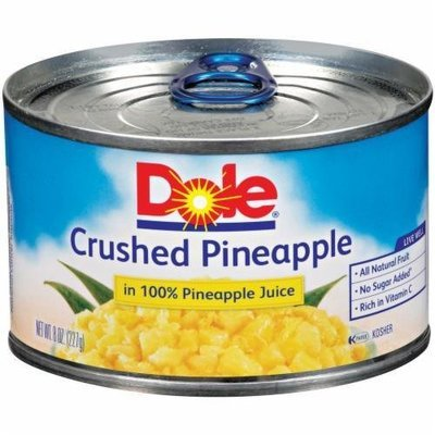 Canned Fruit, Dole® Crushed Pineapple in 100% Juice (8 oz Can)