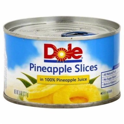 Canned Fruit, Dole® Pineapple Slices in 100% Juice (8 oz Can)