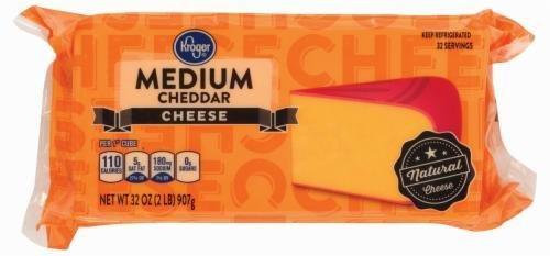 Cheese Block, Kroger® Block of Medium Cheddar Cheese (32 oz Bag)