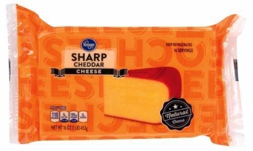 Cheese Block, Kroger® Block of Sharp Cheddar Cheese (16 oz Bag)