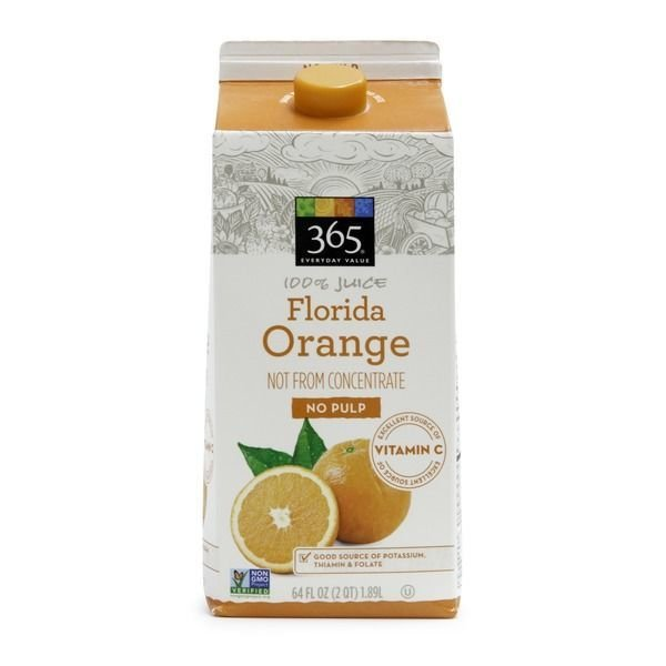 Juice Drink, 365® Florida Orange Juice with No Pulp (64 oz Carton)