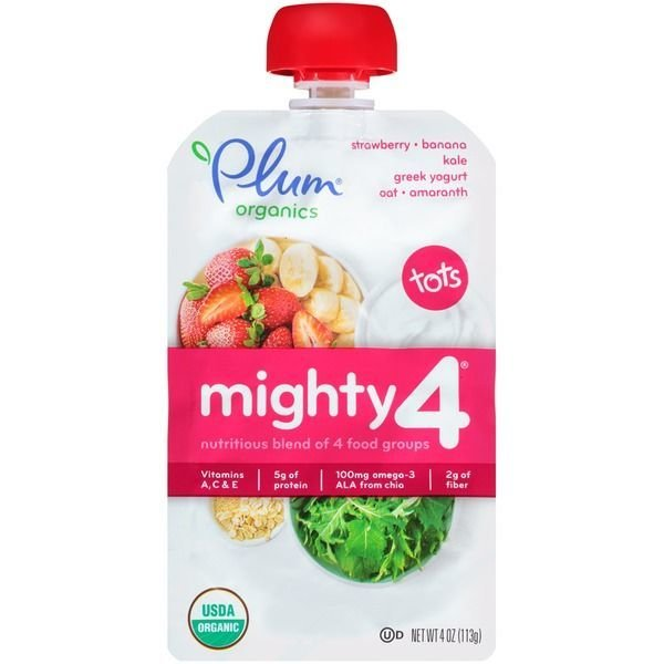 Baby Food, Plum Organics® Mighty 4® Strawberry, Banana, Kale, Yogurt, Oat, Amaranth Baby Food (4 oz Bag)