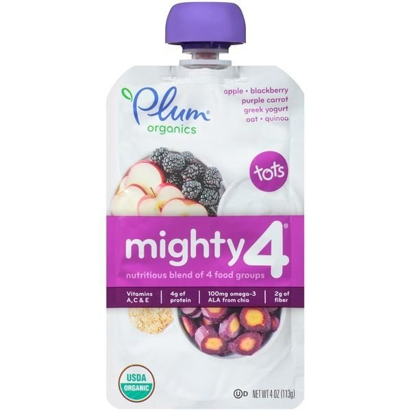 Baby Food, Plum Organics® Mighty 4® Apple, Blackberry, Carrot, Yogurt, Oat & Quinoa Baby Food (4 oz Bag)