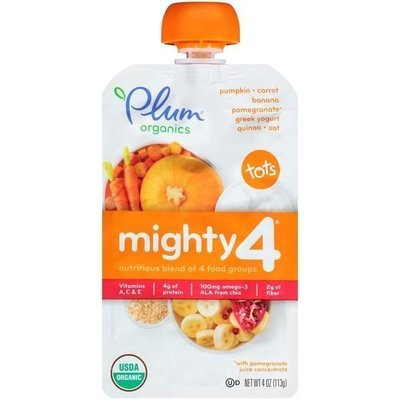 Baby Food, Plum Organics® Mighty 4® Pumpkin, Carrot, Banana, Pomegranate, Yogurt, Quinoa & Oat Baby Food (4 oz Bag)