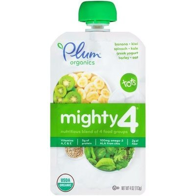 Baby Food, Plum Organics® Mighty 4® Banana, Kiwi, Spinach, Kale, Yogurt, Barley & Oat Baby Food (4 oz Bag)