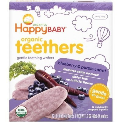 Baby Food, Happy Baby® Blueberry & Purple Carrot Teething Wafers (Box with 12 Packs of 2)