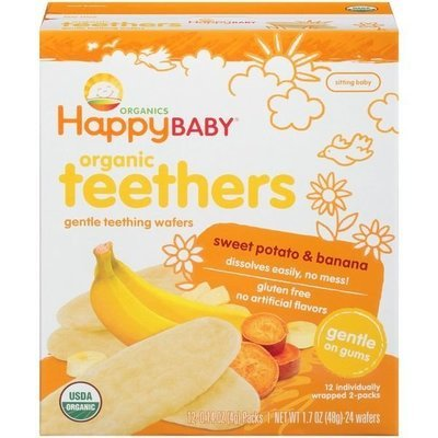 Baby Food, Happy Baby® Sweet Potato & Banana Teething Wafers (Box with 12 Packs of 2)