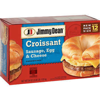 Frozen Breakfast Croissant, Jimmy Dean® Croissant with Sausage, Egg & Cheese (12 Count, 54 oz Box)