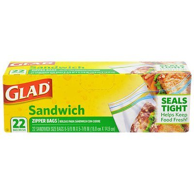 Food Storage Bags, Glad® Sandwich Size Zipper Seal Bags (Box of 22 Bags)