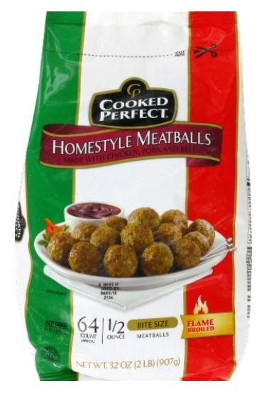 Frozen Meatballs, Cooked Perfect® Homestyle Meatballs (38 oz Bag)