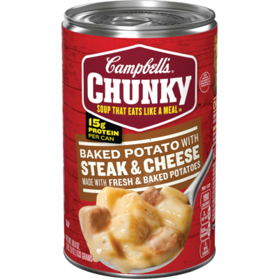 Canned Soup, Campbell's® Chunky® Baked Potato with Steak & Cheese Made with Fresh & Baked Potatoes Soup (18.8 oz Can)