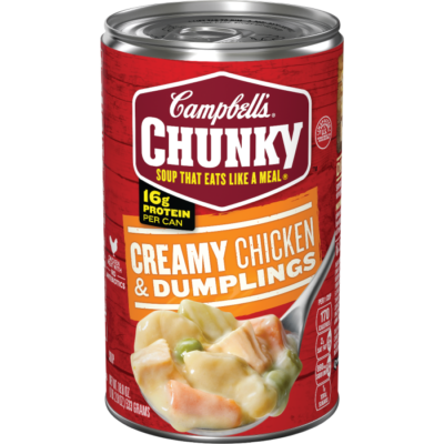 Canned Soup, Campbell's® Chunky® Creamy Chicken & Dumplings Soup (18.8 oz Can)