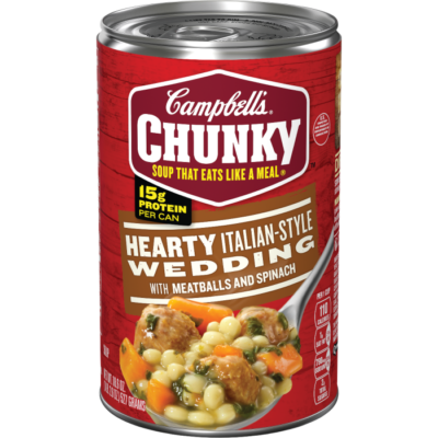 Canned Soup, Campbell's® Chunky® Hearty Italian-Style Wedding, Meatballs & Spinach (18.8 oz Can)