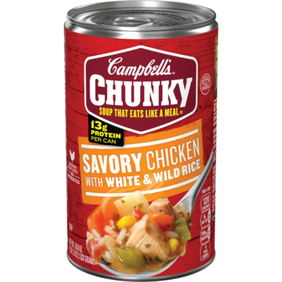 Canned Soup, Campbell's® Chunky® Savory Chicken Soup with White & Wild Rice (18.8 oz Can)