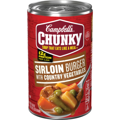 Canned Soup, Campbell's® Chunky® Sirloin Burger Country Vegetable Soup (18.8 oz Can)