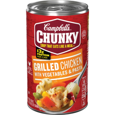 Canned Soup, Campbell's® Chunky® Grilled Chicken with Vegetables and Pasta Soup (18.8 oz Can)