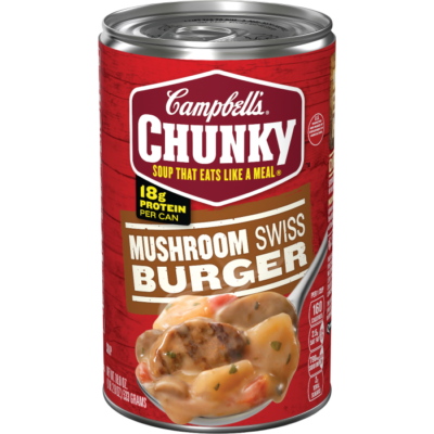 Canned Soup, Campbell's® Chunky® Mushroom Swiss Burger Soup (18.8 oz Can)