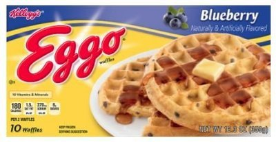 Frozen Waffles, Kellogg's® Eggo® Blueberry Waffles (10 Count, 12.3 oz Box)