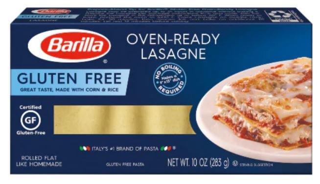 Lasagna Pasta, Barilla® Gluten Free Oven Ready Lasagna Pasta (10 oz Box)