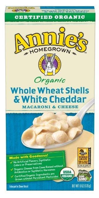 Mac N Cheese Pasta, Annie's® Organic Whole Wheat Shells & White Cheddar Macaroni & Cheese (6 oz Box)
