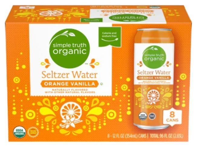 Sparkling Water, Simple Truth Organic™ Orange Vanilla Seltzer Water (8 Count,  12 oz Cans)
