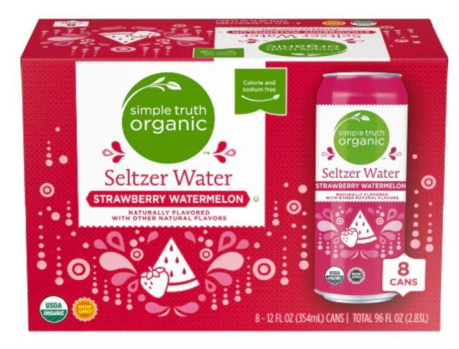 Sparkling Water, Simple Truth Organic™ Strawberry Watermelon Seltzer Water (8 Count,  12 oz Cans)