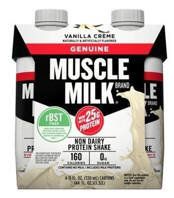 Non-Dairy Milk, Muscle Milk® Vanilla Cream Nutritional Shake (4 Count, 11 fl oz Bottles)