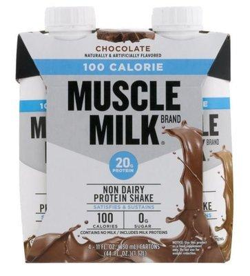 Non-Dairy Milk, Muscle Milk® 100 Calorie Chocolate Shake (4 Count, 11 fl oz Bottles)
