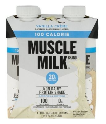 Non-Dairy Milk, Muscle Milk® 100 Calorie Vanilla Shake (4 Count, 11 fl oz Bottles)
