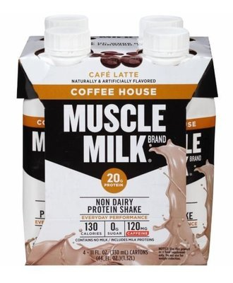 Non-Dairy Milk, Muscle Milk® Coffee House Cafe Latte Protein Shake (4 Count, 11 fl oz Bottles)