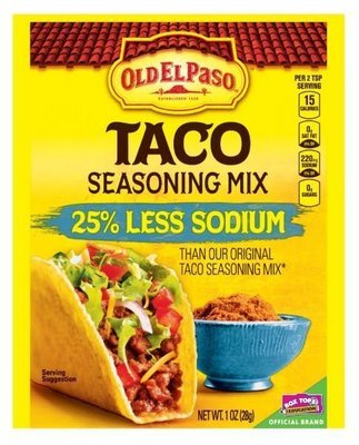Taco Seasoning, Old El Paso® 25% Less Sodium Taco Seasoning Mix (1 oz Bag)