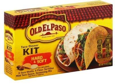 Taco Dinner Kit, Old El Paso® Hard and Soft Taco Dinner Kit (6 Hard, 6 Soft Shells, 11.4 oz Box)